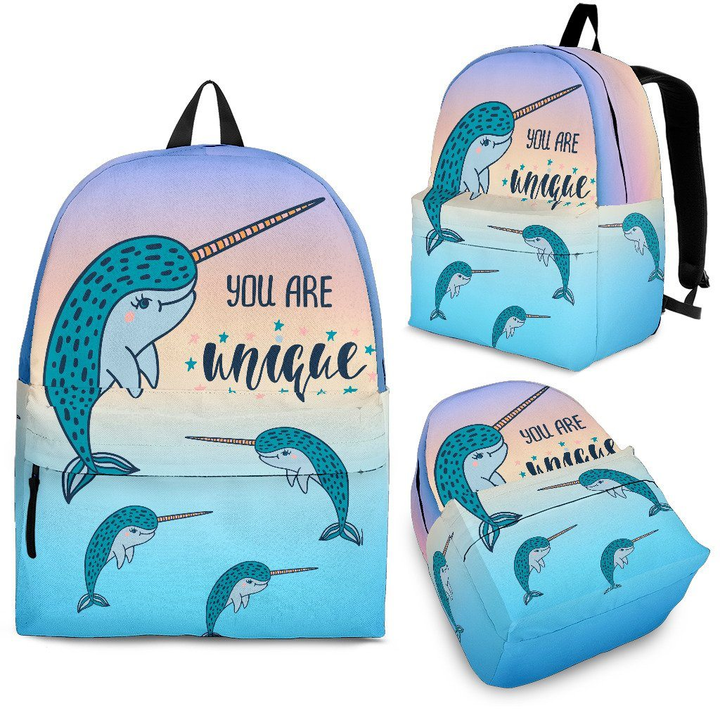 You Are Unique Narwhal Backpack Mermaid Backpacks