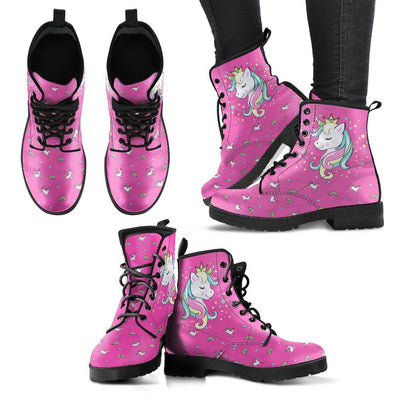 Unicorn Queen Women's Leather Boots Furry Boots Pink US5 (EU35)