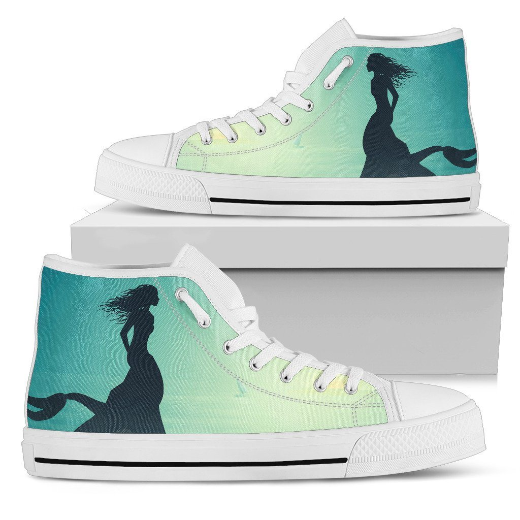 Mermaid Moon Women's High Top Sneakers Mermaid Shoes