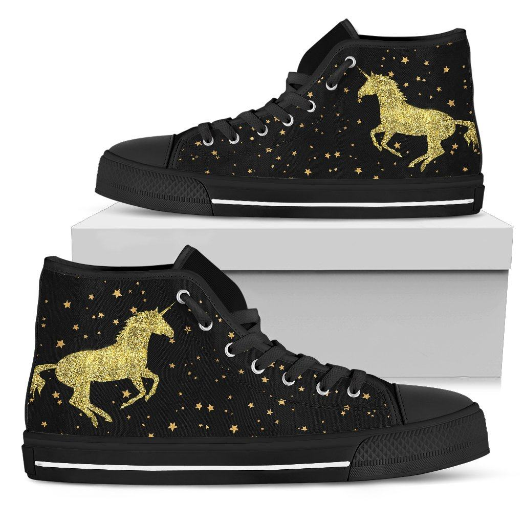 Unicorn Gold Sparkle Women's High Top Sneakers - Express Delivery sneakers