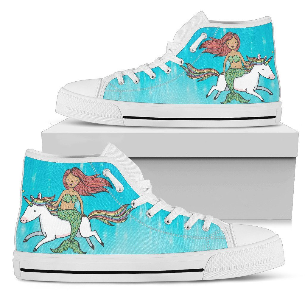 Mermaid Unicorn Women's High Top Sneakers Mermaid Shoes