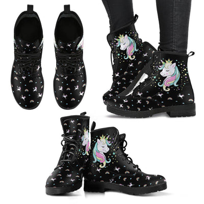 Unicorn Queen Women's Leather Boots Furry Boots Black US5 (EU35)