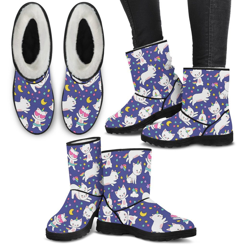 Kitty Cat Unicorn Women's Furry Boots Furry Boots