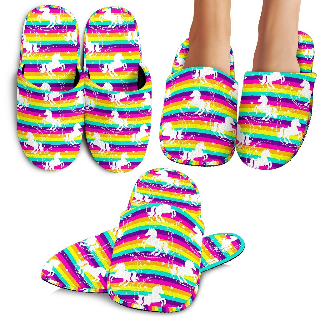 Crazy Rainbow Unicorn Slippers - Express Delivery Slippers