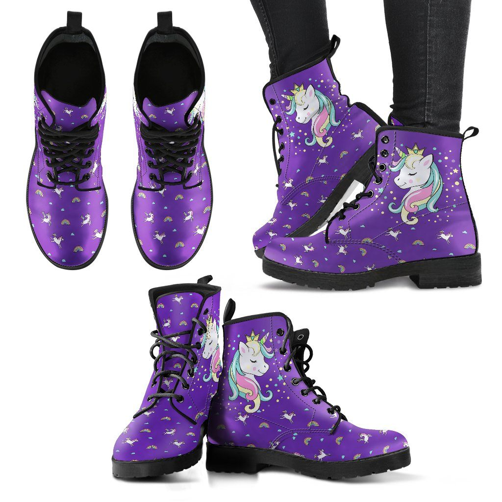 Unicorn Queen Women's Leather Boots Furry Boots Purple US5 (EU35)