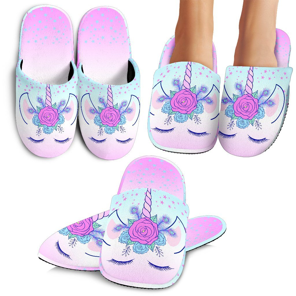 Unicorn Flowers Slippers