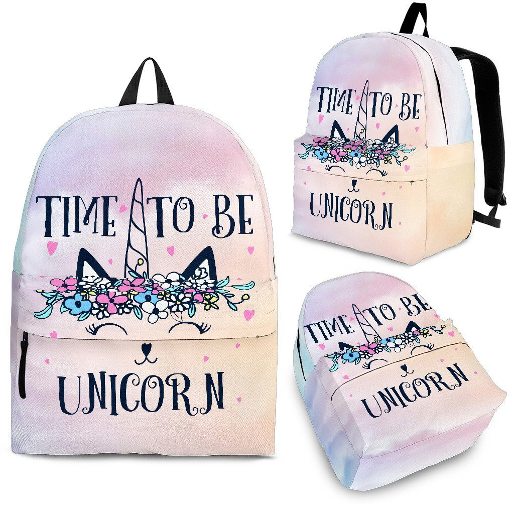 Time To Be A Unicorn Cat Backpack Unicorn Backpacks