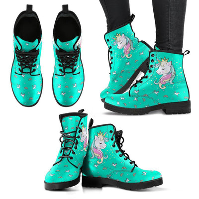 Unicorn Queen Women's Leather Boots Furry Boots Teal US5 (EU35)