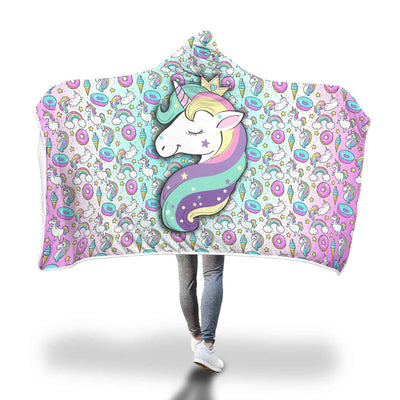 Unicorn Fantasy Hooded Blanket Hooded Blanket Adult