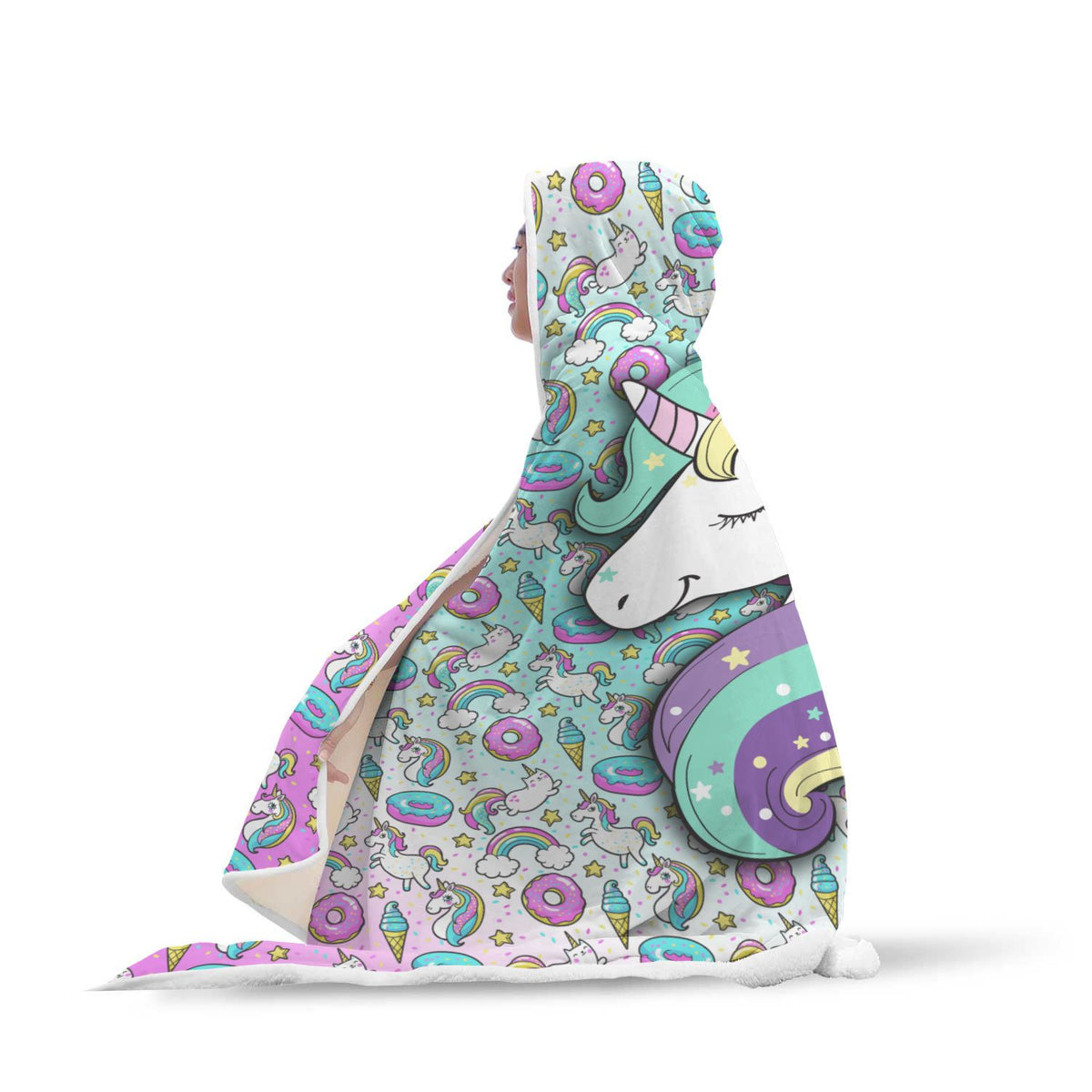 Unicorn Fantasy Hooded Blanket Hooded Blanket Youth