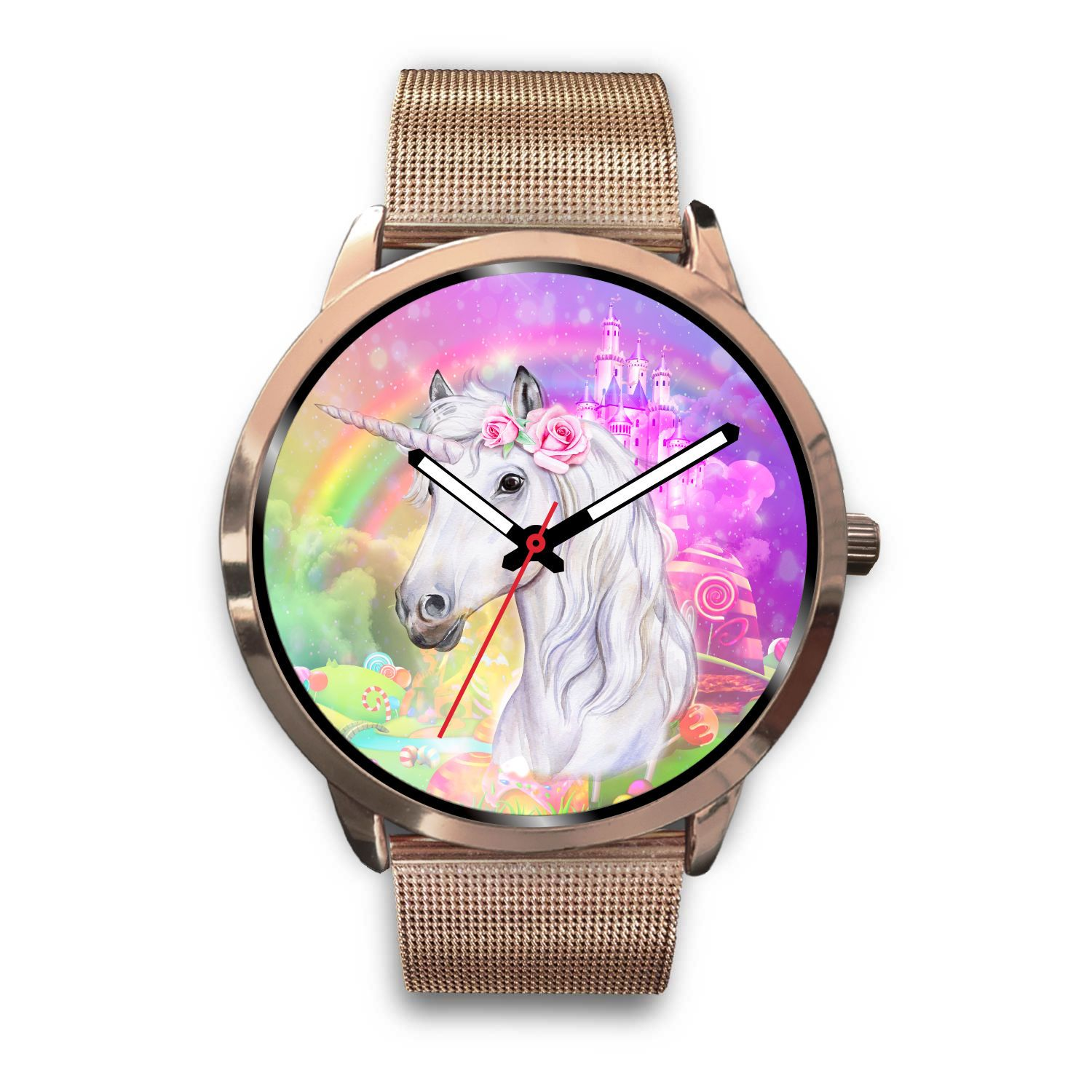 Unicorn Dreamland Rose Gold Watch Jewelry Mens 40mm Rose Gold Metal Mesh