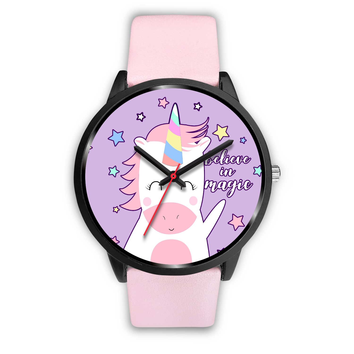 Believe In Magic Unicorn Watch Watch Mens 40mm Pink Leather