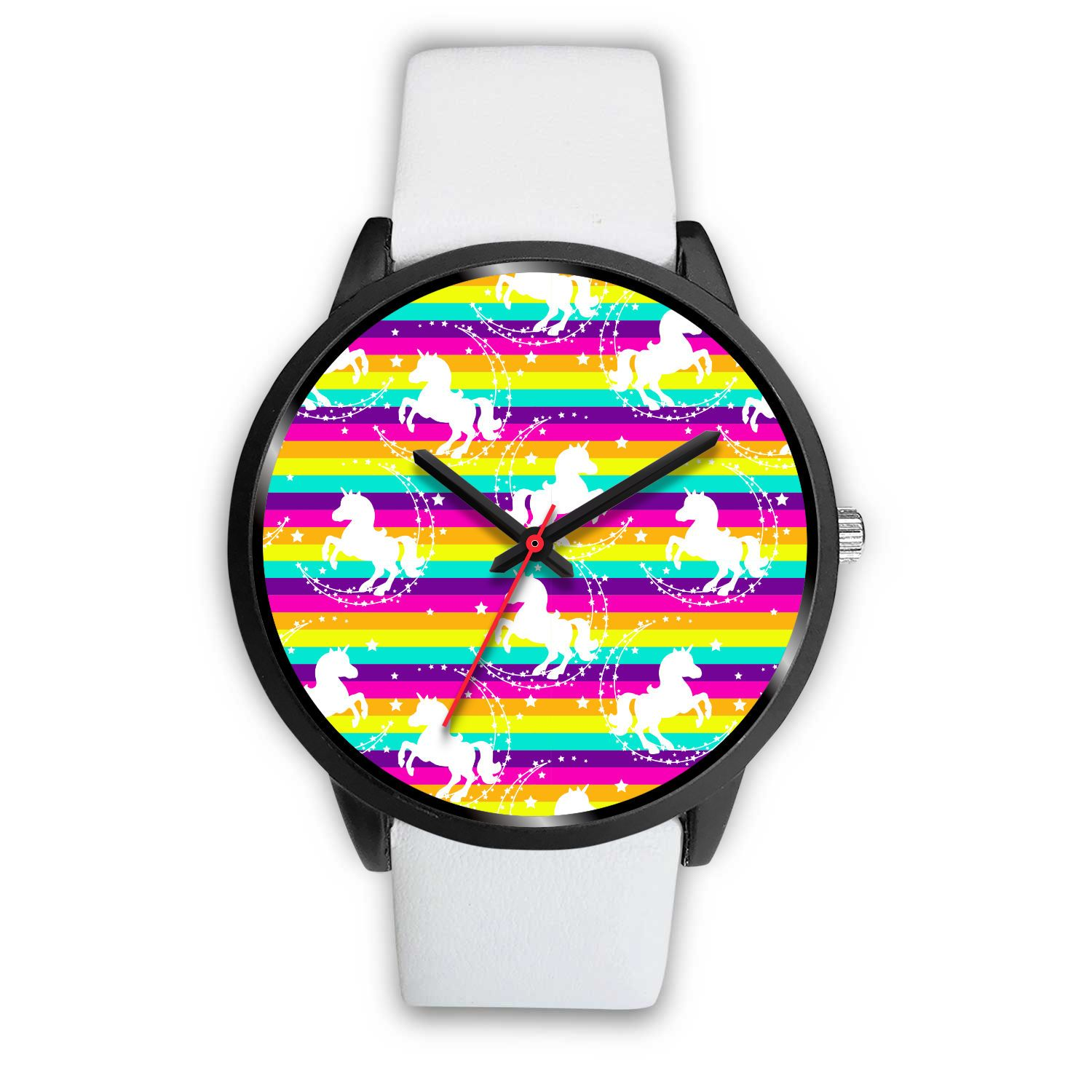 Crazy Rainbow Unicorn Watch Watch Mens 40mm White Leather