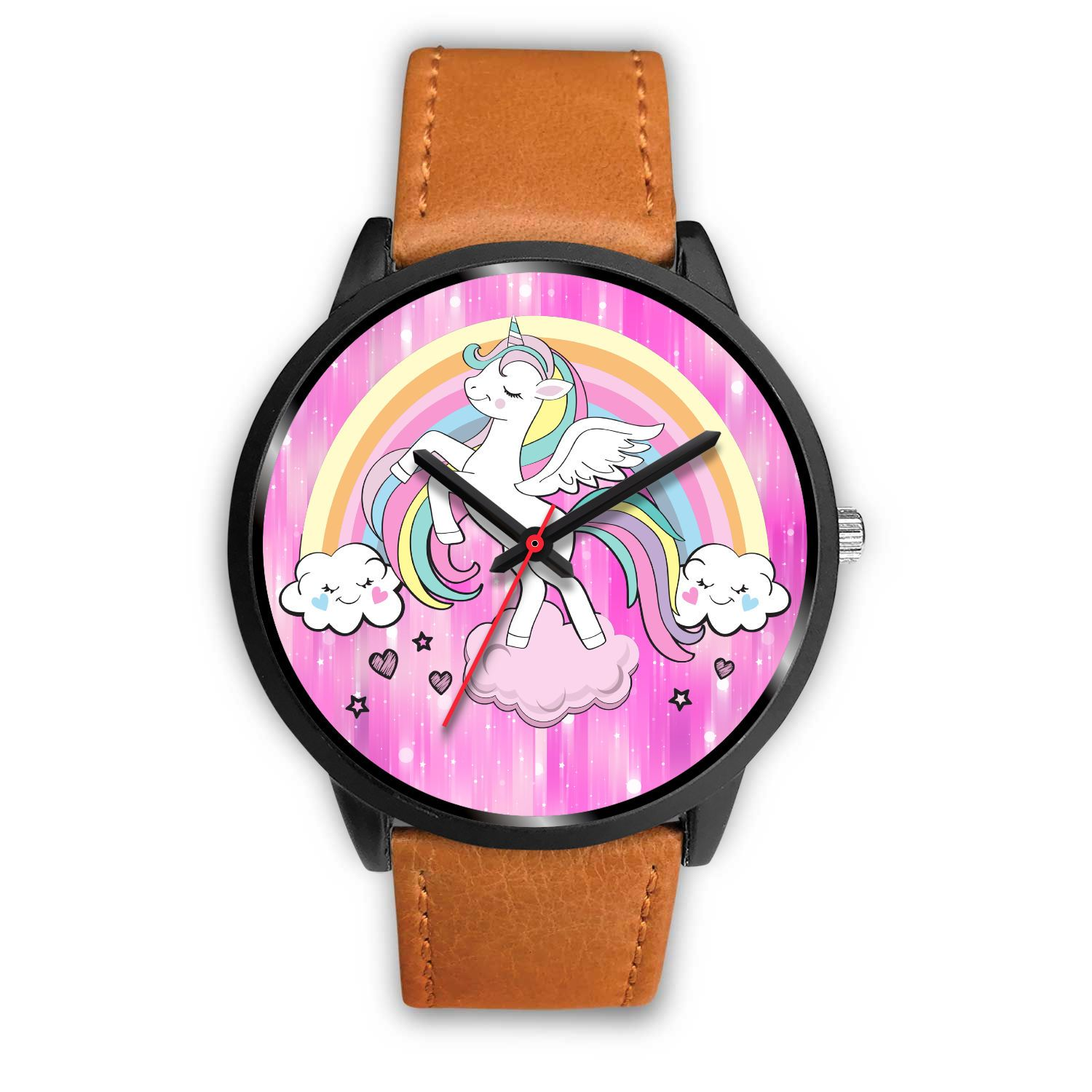 Heavenly Unicorn Watch Watch Mens 40mm Brown Leather