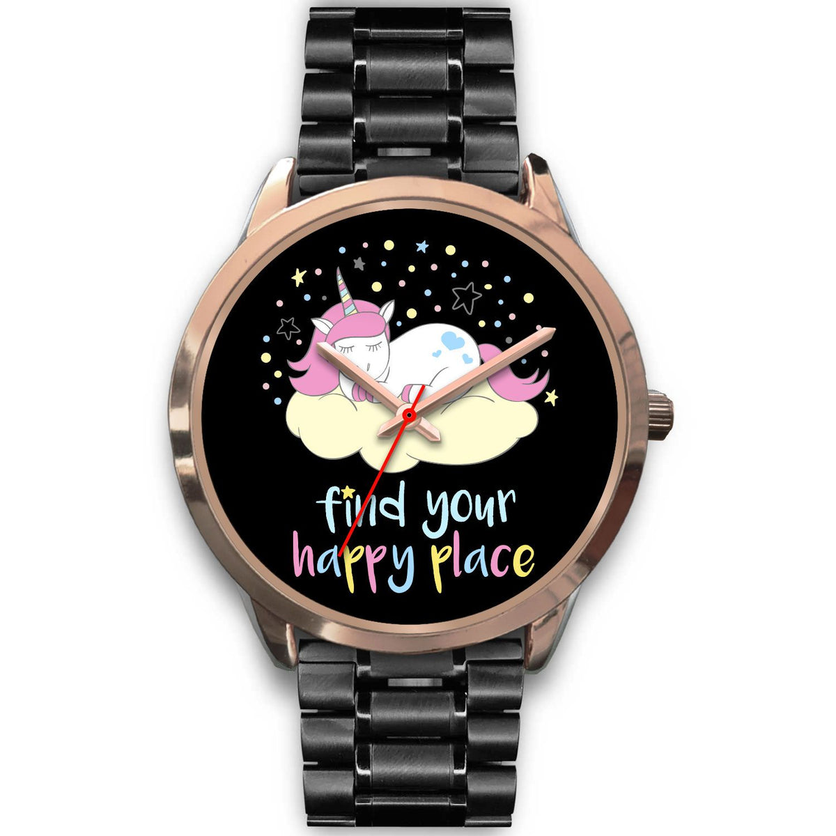 Find Your Happy Place Unicorn Watch Watch Mens 40mm Black Metal Link