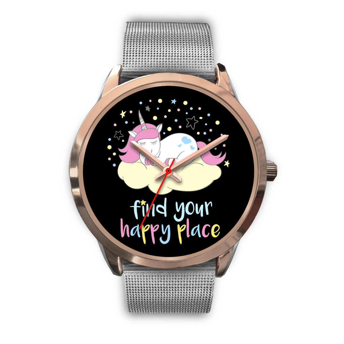 Find Your Happy Place Unicorn Watch Watch Mens 40mm Silver Metal Mesh