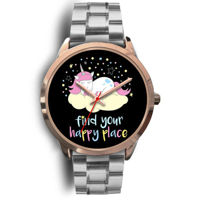 Find Your Happy Place Unicorn Watch Watch Mens 40mm Silver Metal Link