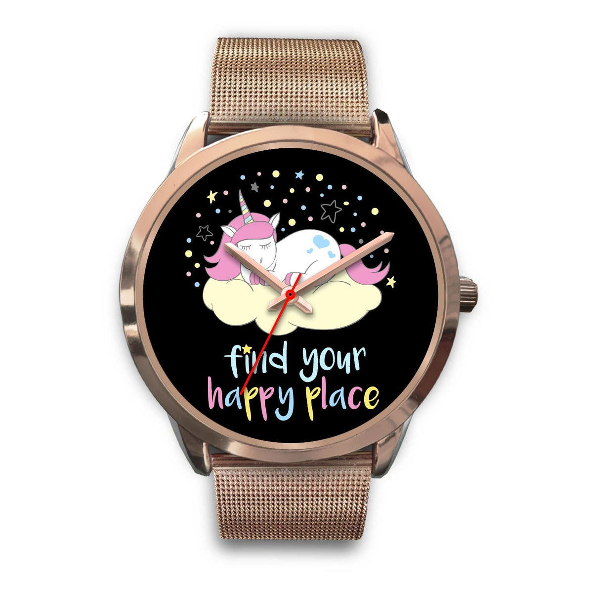 Find Your Happy Place Unicorn Watch Watch Mens 40mm Rose Gold Metal Mesh