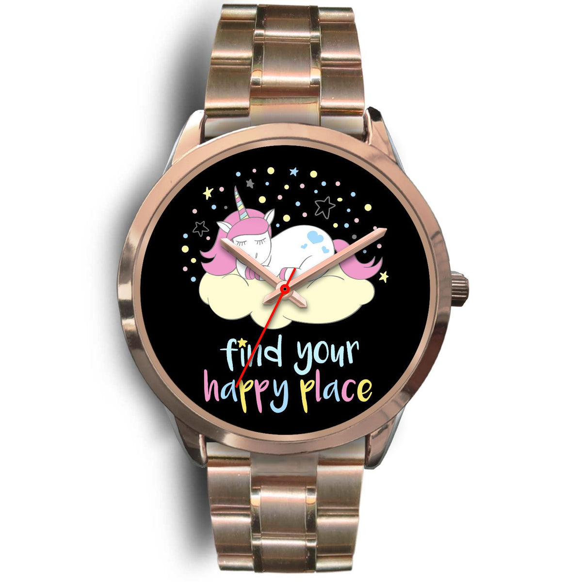 Find Your Happy Place Unicorn Watch Watch Mens 40mm Rose Gold Metal Link