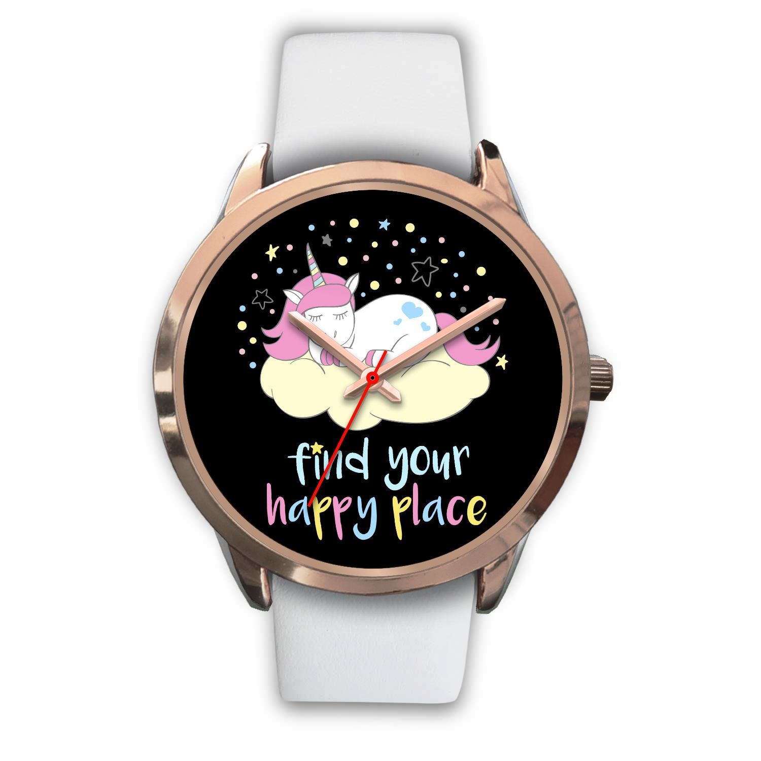 Find Your Happy Place Unicorn Watch Watch Mens 40mm White Leather