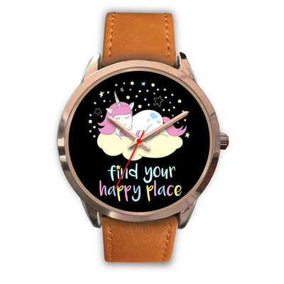 Find Your Happy Place Unicorn Watch Watch Mens 40mm Brown Leather