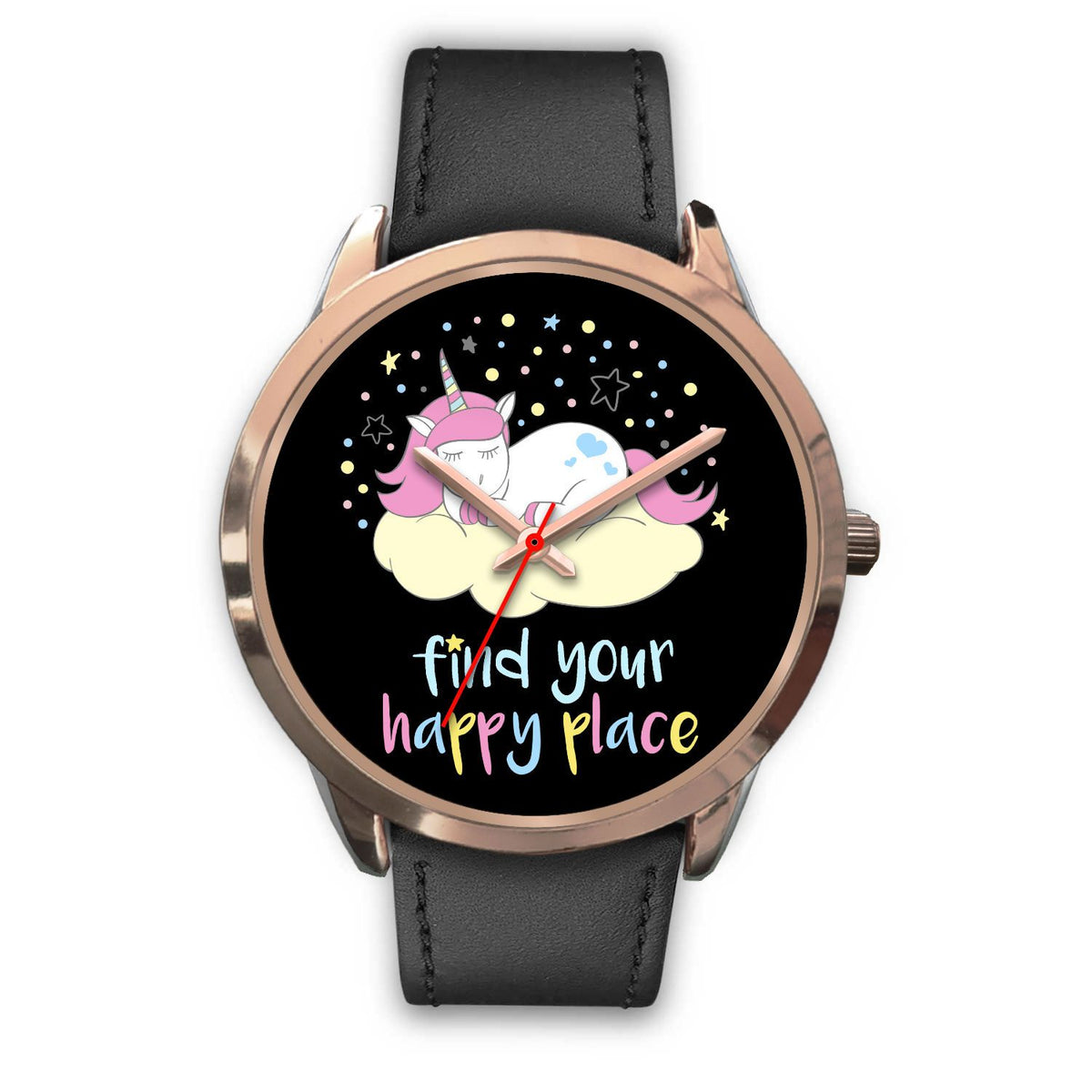 Find Your Happy Place Unicorn Watch Watch Mens 40mm Black Leather