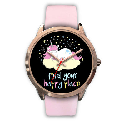 Find Your Happy Place Unicorn Watch Watch Mens 40mm Pink Leather