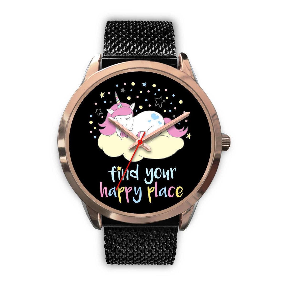 Find Your Happy Place Unicorn Watch Watch Mens 40mm Black Metal Mesh