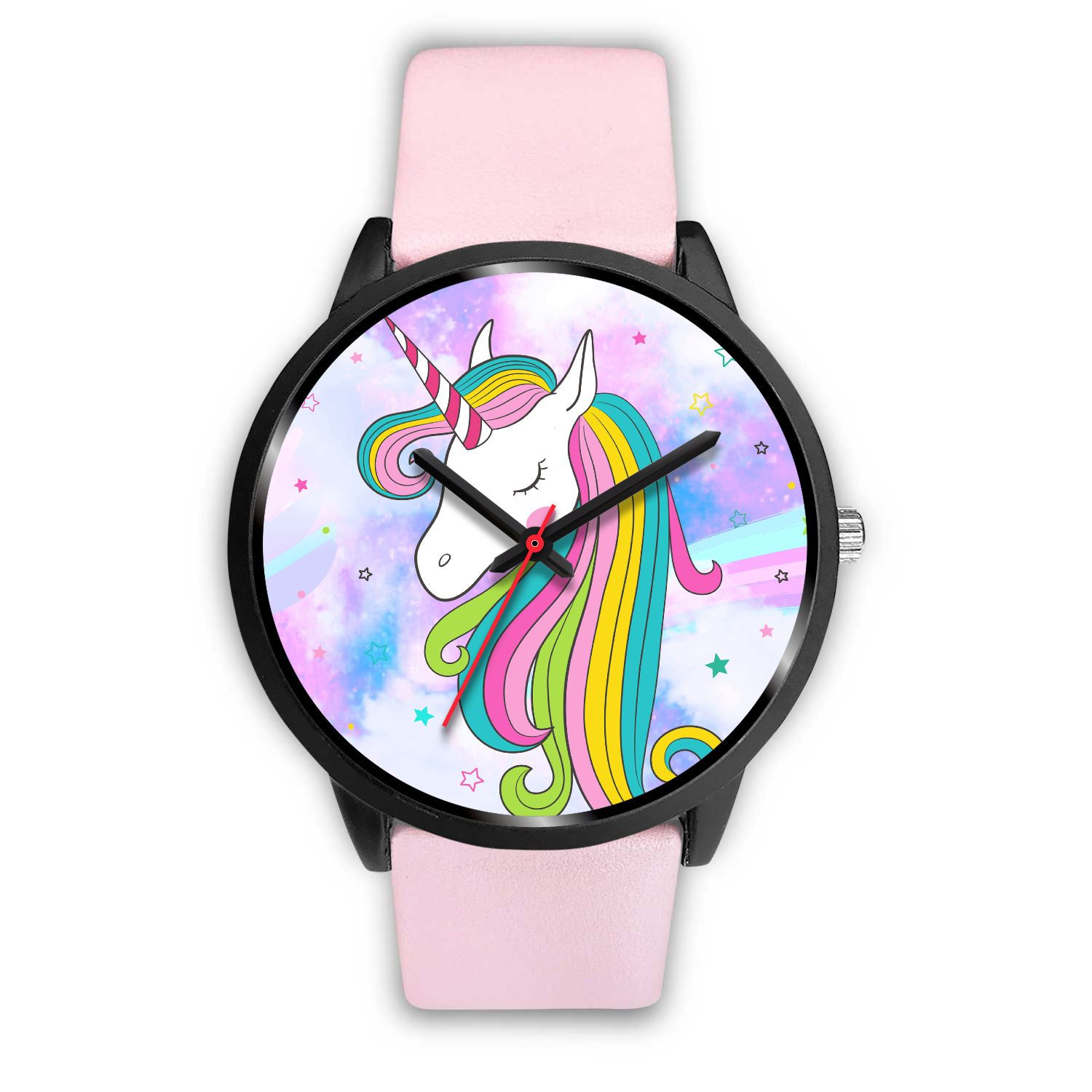 Unicorn Clouds Watch Watch Mens 40mm Pink Leather