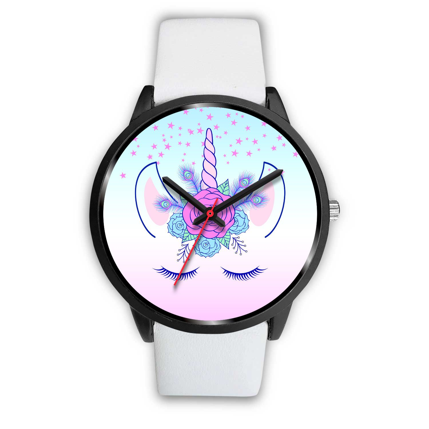 Unicorn Flowers Watch Watch Mens 40mm White Leather