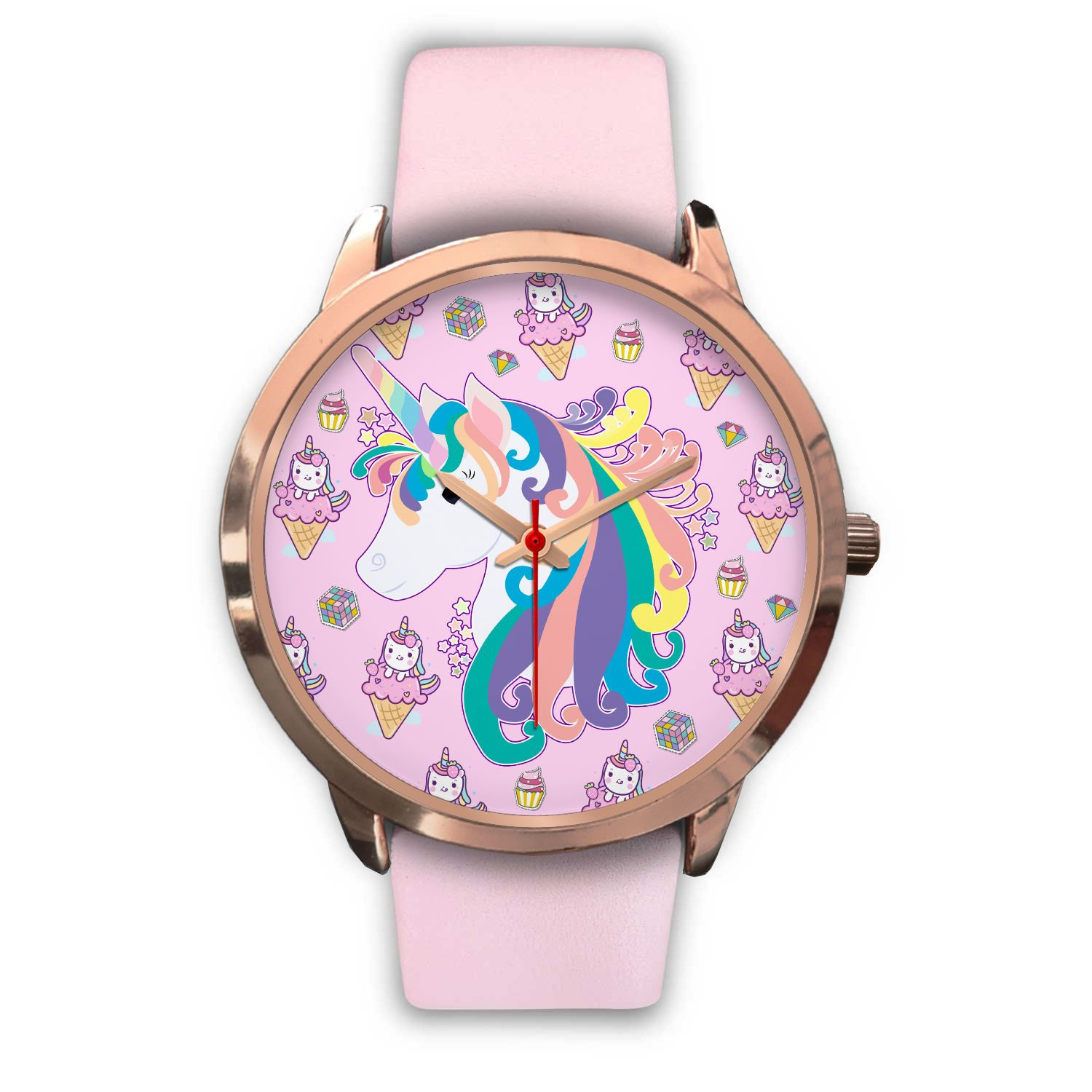 Twinkle Unicorn Rose Gold Watch Watch Mens 40mm Pink Leather