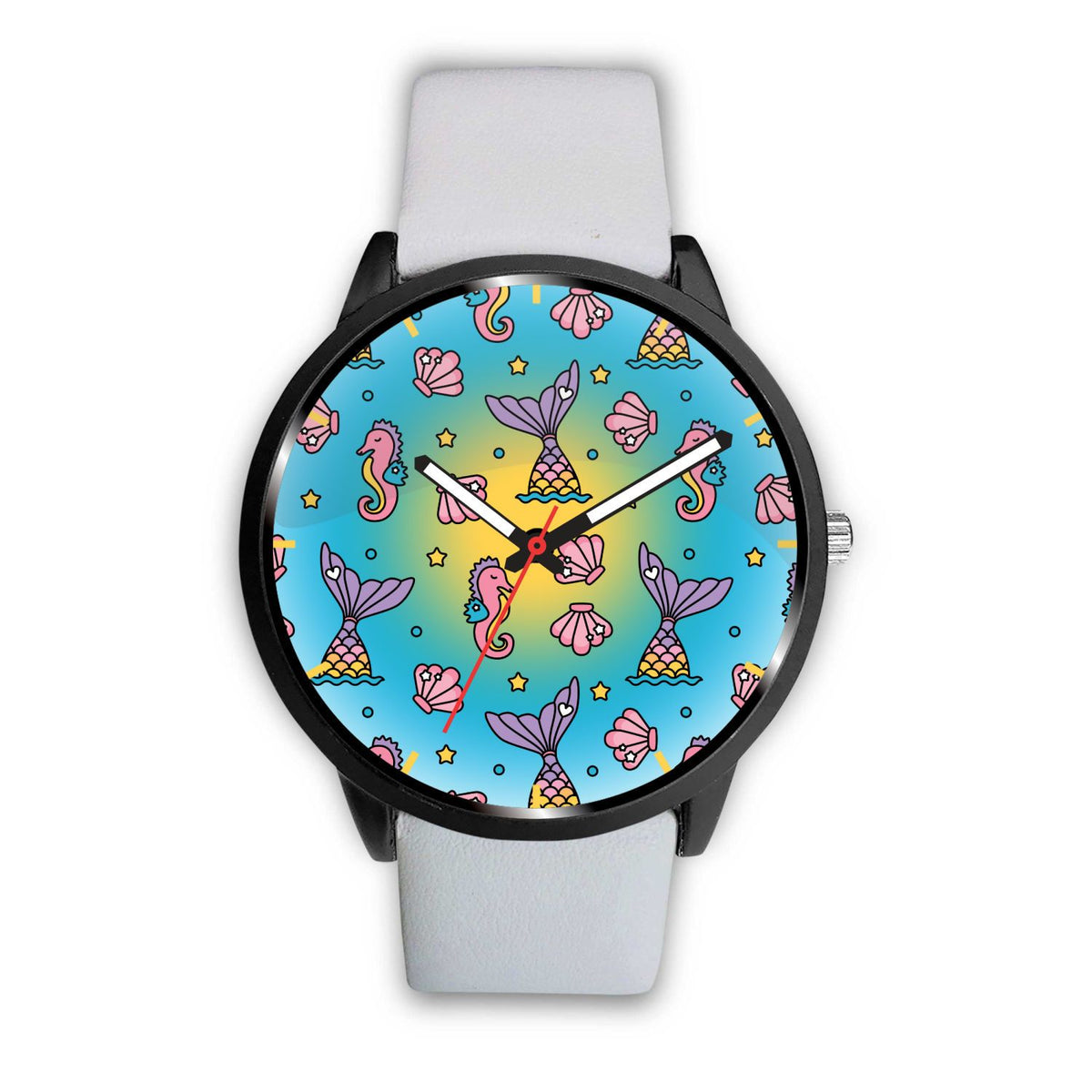 Seahorses & Mermaid Tails Watch Mermaid Jewelry Mens 40mm White