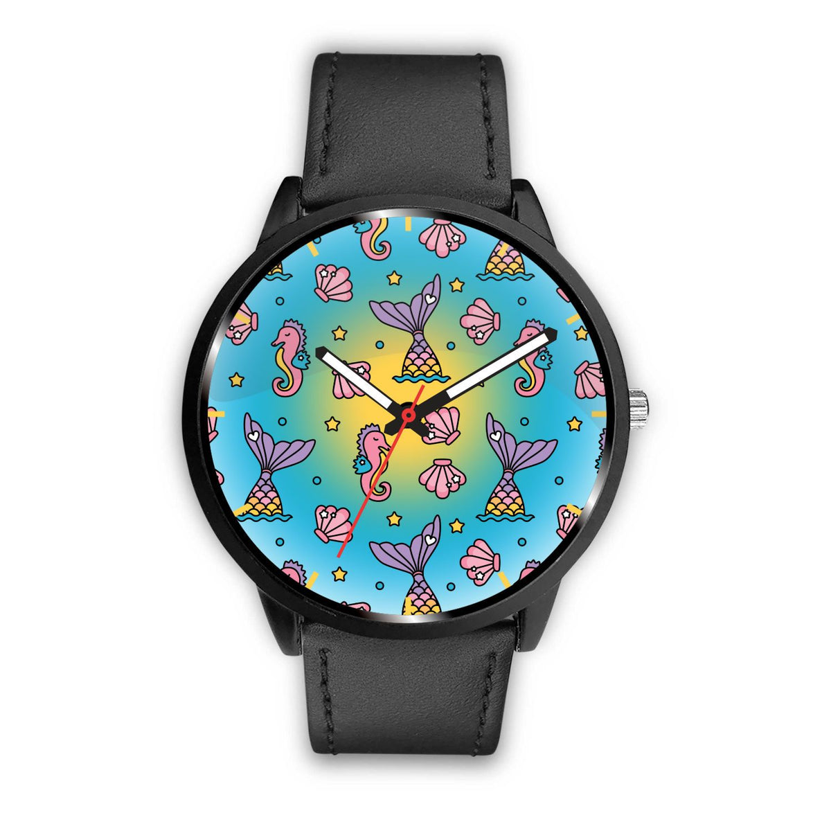 Seahorses & Mermaid Tails Watch Mermaid Jewelry Mens 40mm Black
