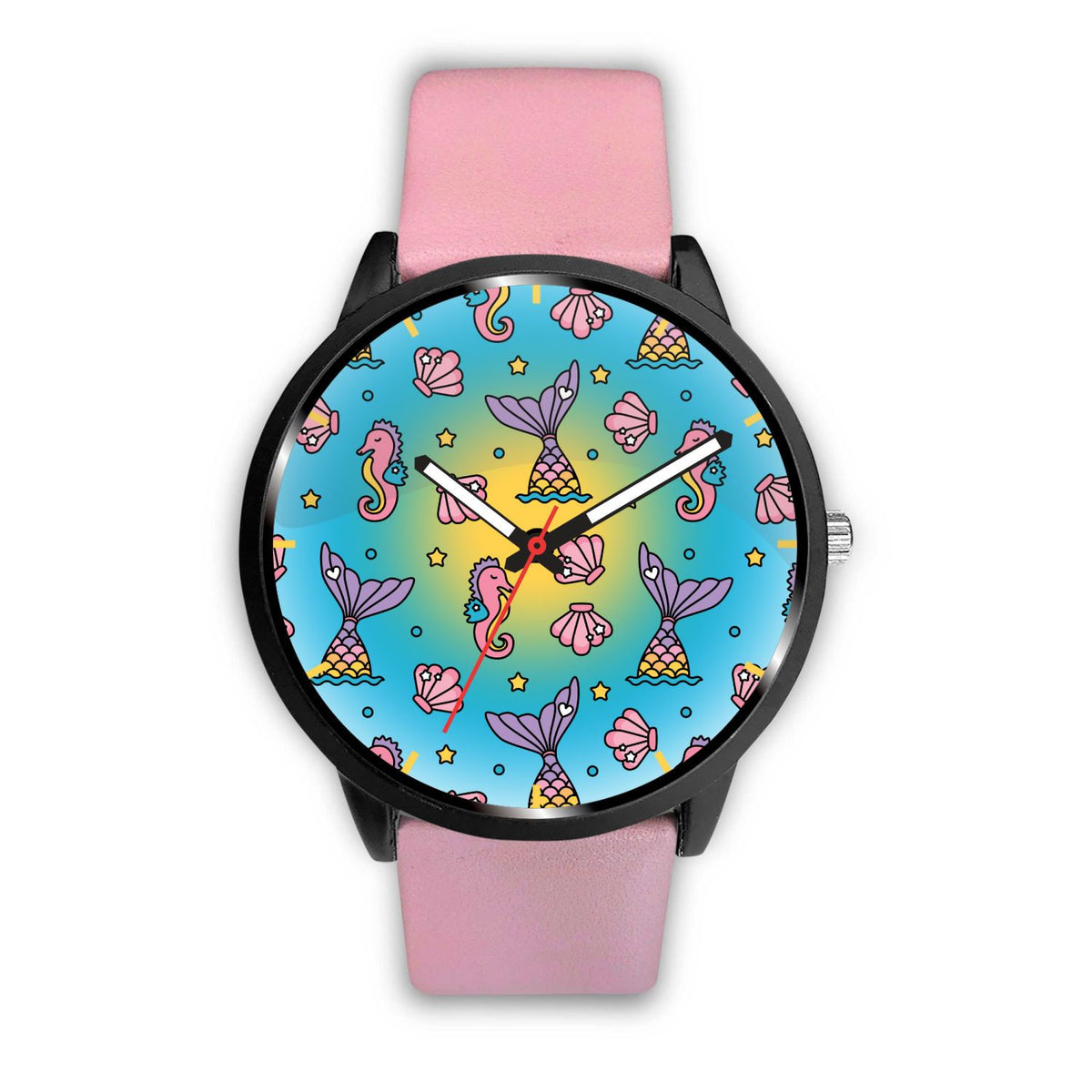 Seahorses & Mermaid Tails Watch Mermaid Jewelry Mens 40mm Pink
