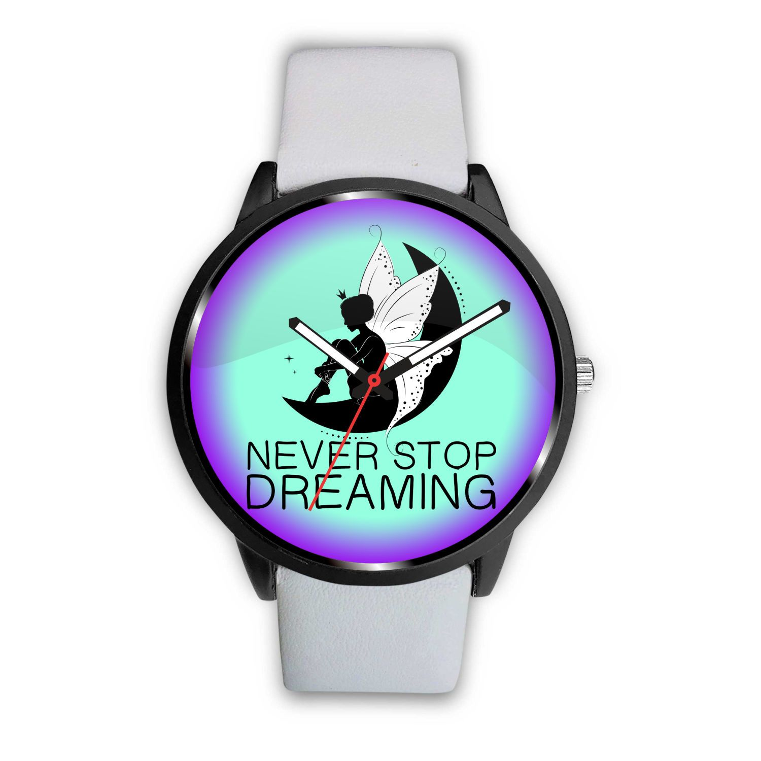 Never Stop Dreaming Fairy Watch Watch Mens 40mm White