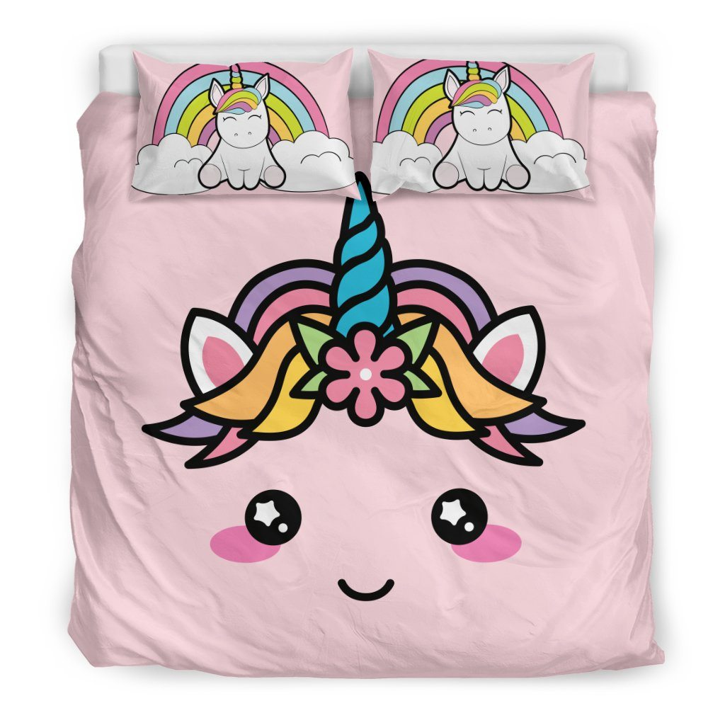 Cute Unicorn Bed Duvet Cover Set Bed Sets Bedding Set - Black - Cute Unicorn Bed Duvet Cover Set King