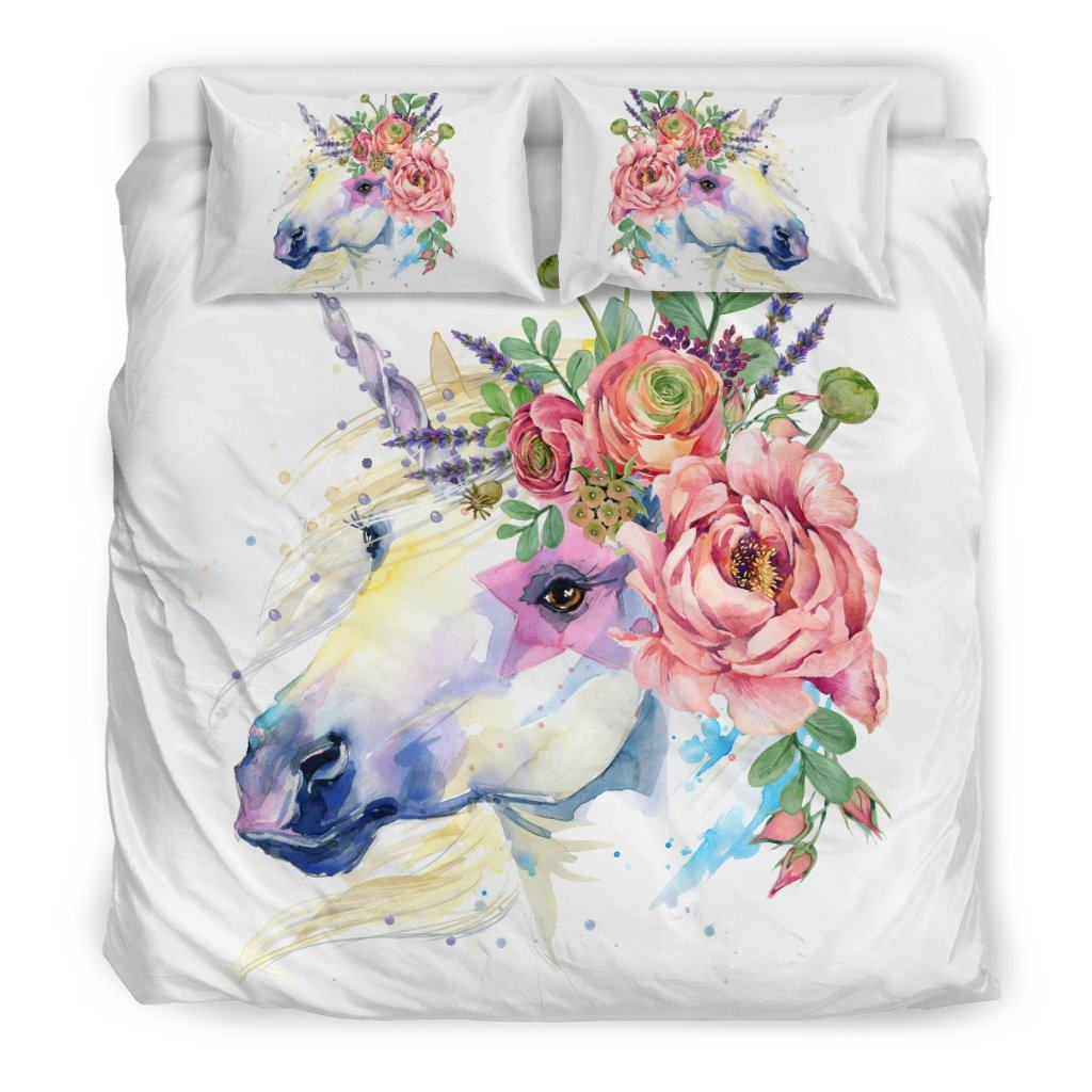 Unicorn Splash Bed Duvet Cover Set Bed Sets Bedding Set - Black - Unicorn Splash Bed Duvet Cover Set King
