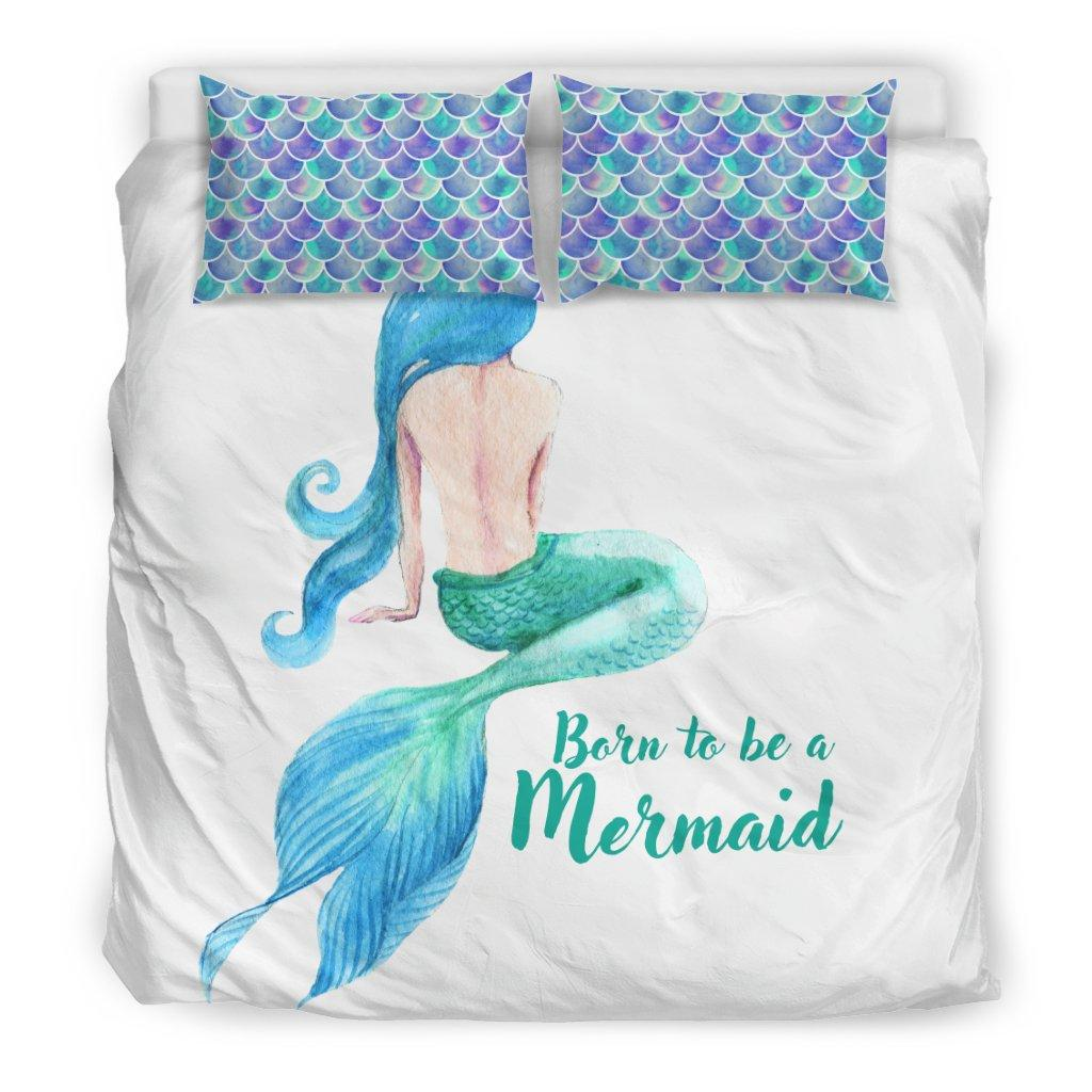 Born To Be A Mermaid Mermaid Bed Sets Bedding Set - Black - Born To Be A Mermaid King
