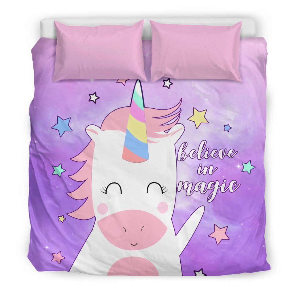 Believe In Magic Unicorn Bed Set Bed Sets Bedding Set - Beige - Believe In Magic Unicorn Bed Set US King