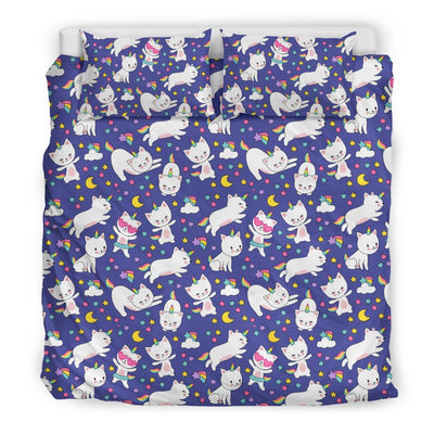Kitty Cat Unicorn Bed Set Bed Sets Bedding Set - Black - Kitty Cat Unicorn Bed Set US King