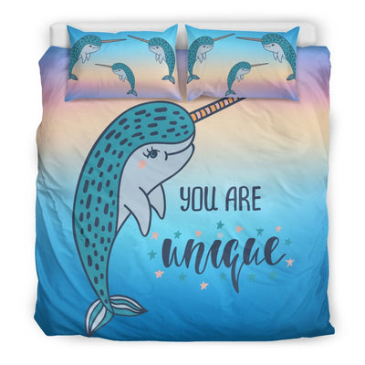 You Are Unique Narwhal Bed Set Mermaid Bed Sets US King