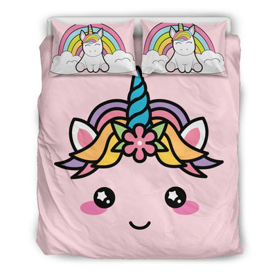 Cute Unicorn Bed Duvet Cover Set Bed Sets Bedding Set - Black - Cute Unicorn Bed Duvet Cover Set Queen/Full