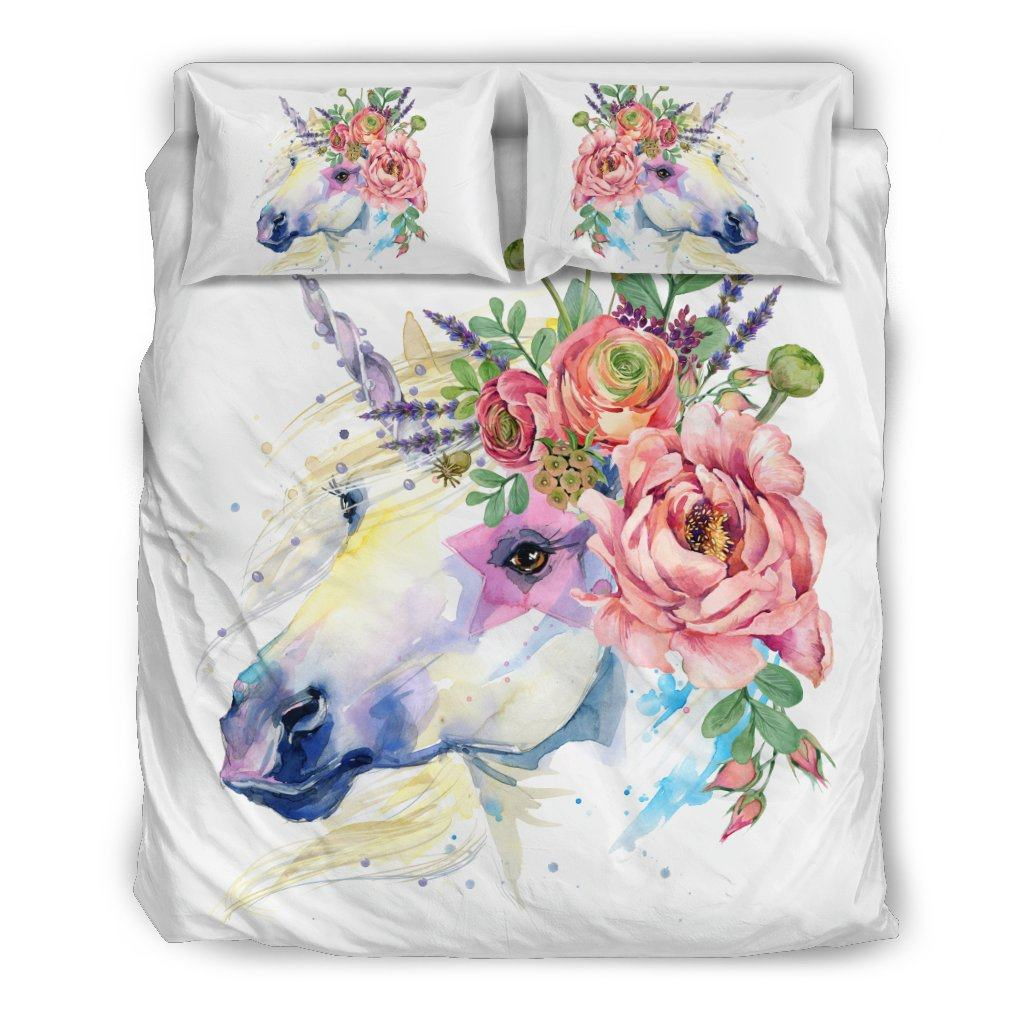 Unicorn Splash Bed Duvet Cover Set Bed Sets Bedding Set - Black - Unicorn Splash Bed Duvet Cover Set Queen/Full