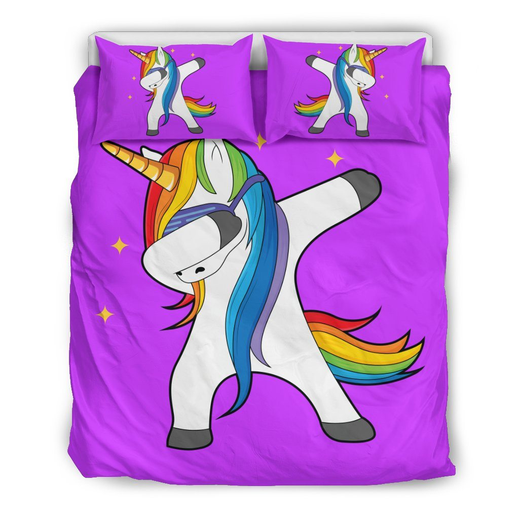 Dabbing Unicorn Bed Duvet Cover Set Bed Sets Bedding Set - Black - Dabbing Unicorn Bed Duvet Cover Set Queen/Full