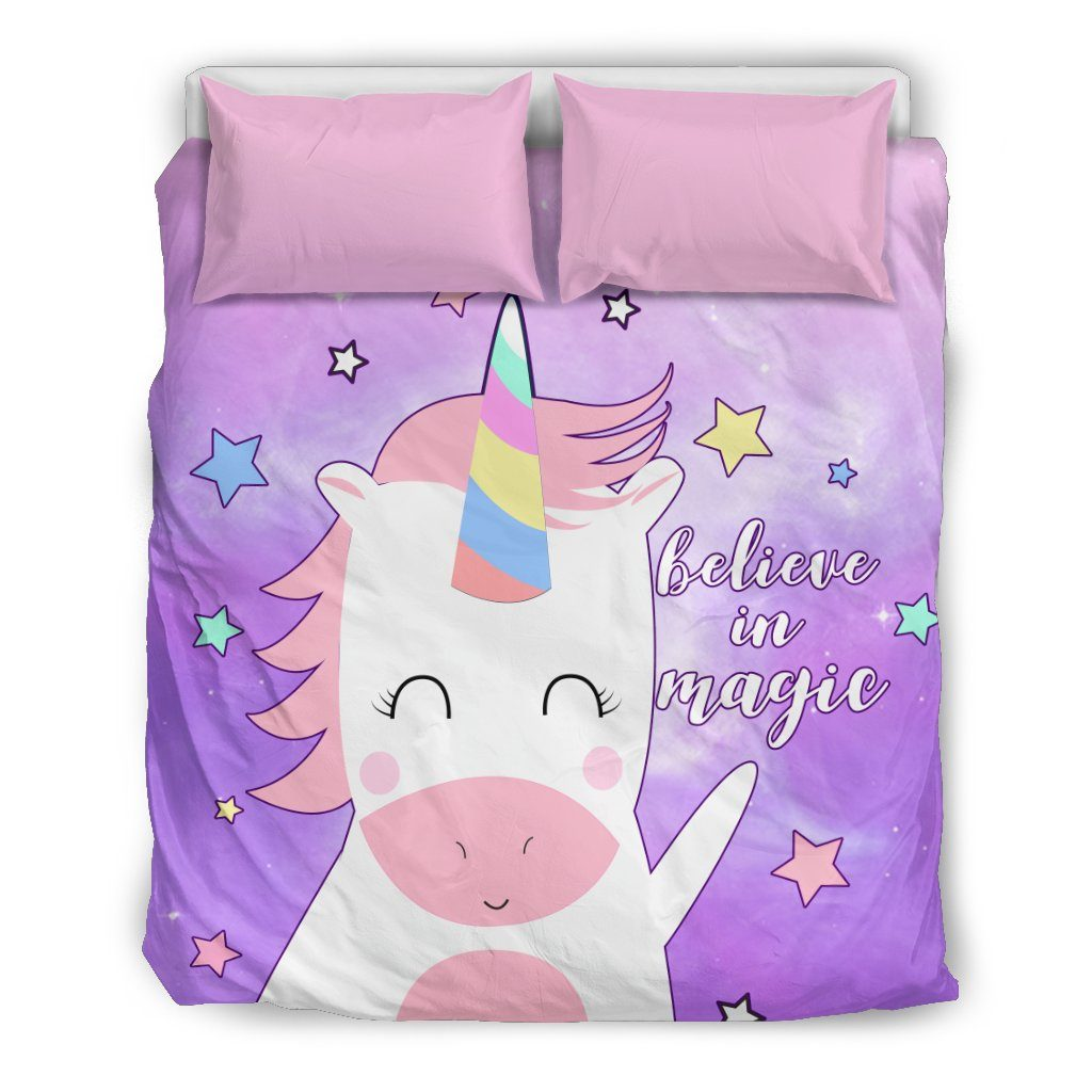 Believe In Magic Unicorn Bed Set Bed Sets Bedding Set - Beige - Believe In Magic Unicorn Bed Set US Queen/Full