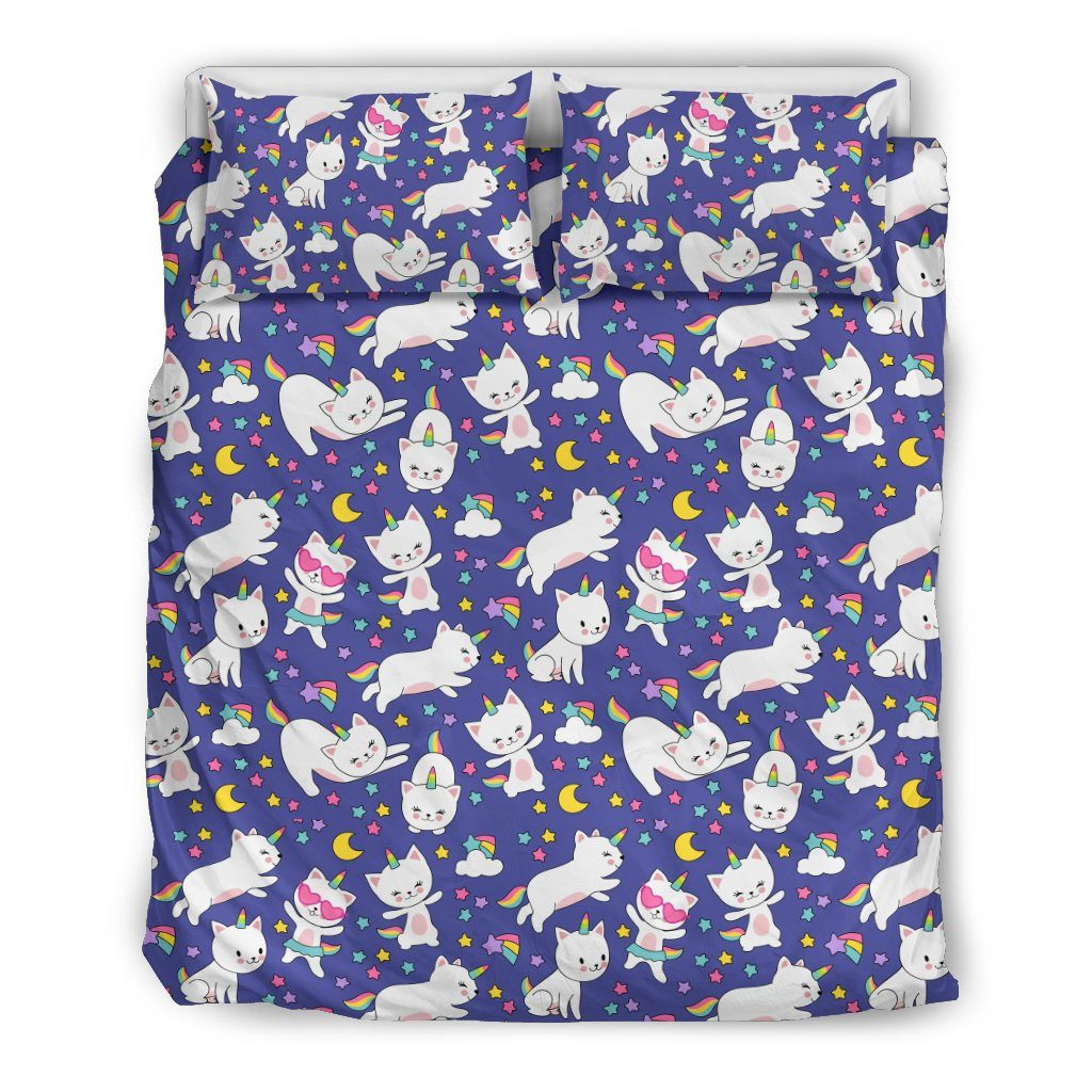 Kitty Cat Unicorn Bed Set Bed Sets Bedding Set - Black - Kitty Cat Unicorn Bed Set US Queen/Full