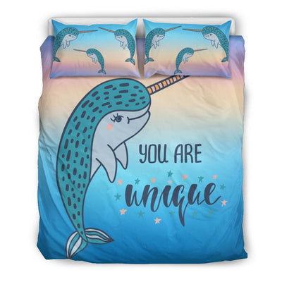 You Are Unique Narwhal Bed Set Mermaid Bed Sets US Queen/Full