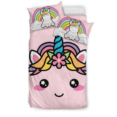 Cute Unicorn Bed Duvet Cover Set Bed Sets Bedding Set - Black - Cute Unicorn Bed Duvet Cover Set Twin