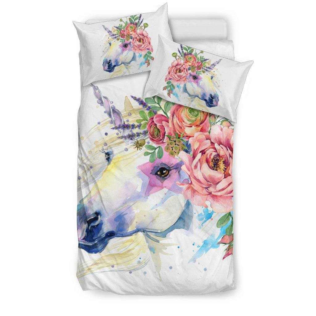 Unicorn Splash Bed Duvet Cover Set Bed Sets Bedding Set - Black - Unicorn Splash Bed Duvet Cover Set Twin