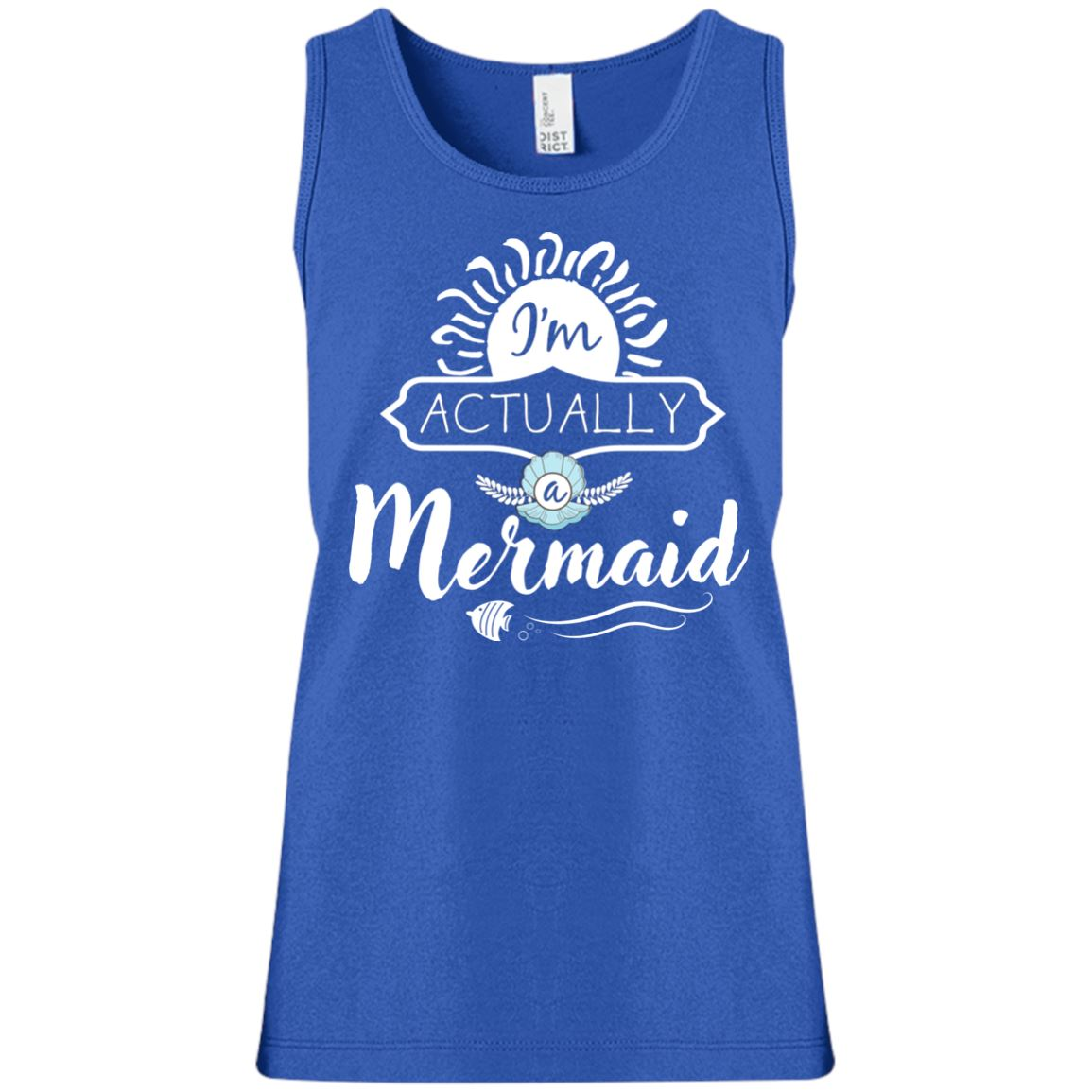 I'm Actually A Mermaid Girls Tank Top Mermaid Apparel Deep Royal YXS